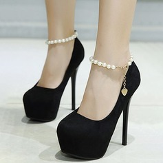 Women's Suede Stiletto Heel Pumps Platform Closed Toe With Chain shoes