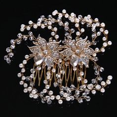 Señoras Pretty Rhinestone/Aleación/La perla de faux Peines y pasador