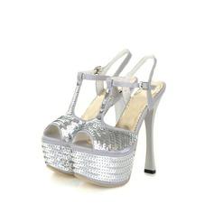 Satin Spule Absatz Sandalen Plateauschuh mit Pailletten Schuhe