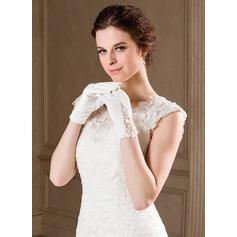 Упругие атласная Наручные длина Свадебные перчатки