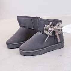 Women's Suede Flat Heel Closed Toe Boots Ankle Boots With Bowknot shoes