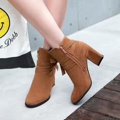Femmes Suède Talon bottier Escarpins Bottines avec Bowknot Zip chaussures