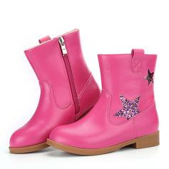 tytön Mid-calf saappaat tekonahka Flat Heel Matalakorkoiset Kengät jossa Vetoketju
