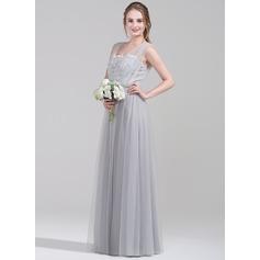 Vestidos princesa/ Formato A Coração Longos Tule Renda Vestido de madrinha com Pregueado