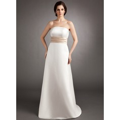 Empire Strapless Sweep Train Satin Bridesmaid Dress With Sash