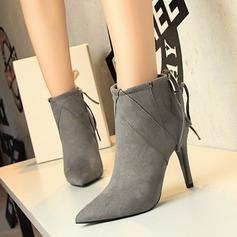 Naisten Mokkanahka Piikkikorko Avokkaat Kengät Mid-calf saappaat jossa Nauhakenkä kengät