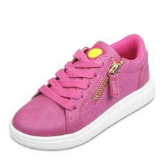 Girl's Leatherette Flat Heel Round Toe Closed Toe Sneakers Sneaker & Athletic With Lace-up Zipper