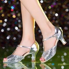 Женщины кожа Мерцающая отделка На каблуках Латино Обувь для танцев