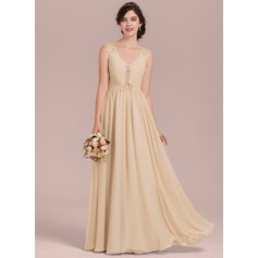 A-Line/Princess V-neck Floor-Length Chiffon Lace Bridesmaid Dress With Ruffle Bow(s) (007126429)