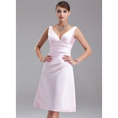 Empire V-neck Knee-Length Satin Bridesmaid Dress With Ruffle
