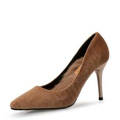 Kvinnor Mocka Stilettklack Pumps Stängt Toe med Päls skor