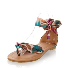 Women's Flat Heel Sandals Flats Peep Toe With Ribbon Tie shoes