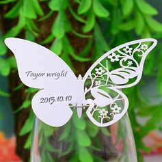 Butterfly Design Pearl Paper Place Cards  (131037412)