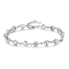 Dames Beau Argent 925 avec Diamant Zircon cubique Bracelets elle/Amis