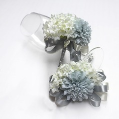Gorgeous Ribbon/Artificial Silk Flower Sets (set of 2) - Wrist Corsage/Boutonniere (123106362)