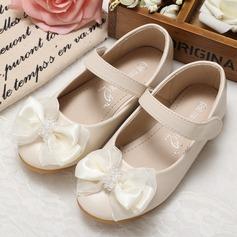 Muchacha Punta Cerrada Kunstleder Talón plano Planos Zapatos de niña de las flores con Cuentas Bowknot