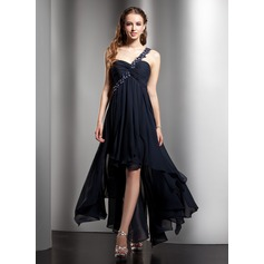 Empire One-Shoulder Asymmetrical Chiffon Homecoming Dress With Beading Appliques Lace Cascading Ruffles