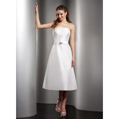 A-Line/Princess Strapless Tea-Length Taffeta Bridesmaid Dress With Ruffle Beading