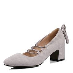 Mulheres Camurça Salto robusto Fechados com Aplicação de renda sapatos