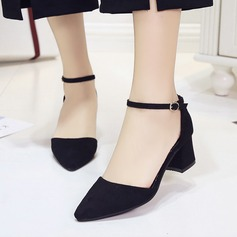 Women's Suede Chunky Heel Pumps Closed Toe With Buckle Hollow-out shoes