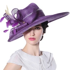 Ladies' Beautiful/Fashion/Glamourous/Elegant/Unique/Amazing/Eye-catching/Charming/Fancy/Romantic/Vintage/Artistic Cambric With Feather Beach/Sun Hats