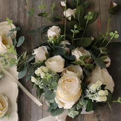 Elegant Cascade Silk Flower Bridal Bouquets -