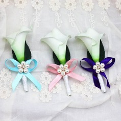 Delicate Free-Form Ribbon Boutonniere/Men's Accessories - (123084643)