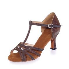 Женщины кожа На каблуках Сандалии Латино с Т-ремешок Обувь для танцев