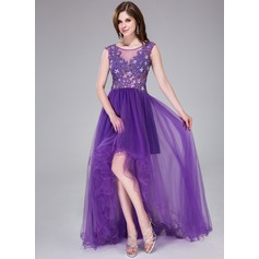 A-Line/Princess Scoop Neck Asymmetrical Tulle Prom Dress With Beading Appliques Lace Flower(s) Sequins