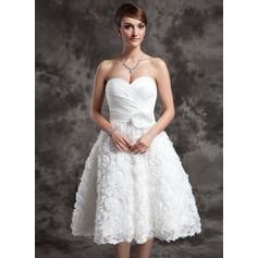 A-Line/Princess Sweetheart Knee-Length Satin Wedding Dress With Ruffle Flower(s) Sequins Bow(s)