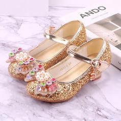 Jentas Round Toe Lukket Tå Leather lav Heel Flate sko med Bowknot Spenne Glitrende Glitter