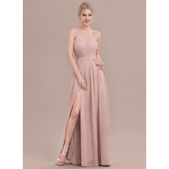A-Line/Princess Sweetheart Floor-Length Chiffon Evening Dress With Ruffle Split Front (017124648)