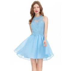 A-Line Scoop Neck Short/Mini Chiffon Homecoming Dress
