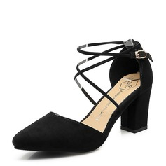 Women's Suede Chunky Heel Closed Toe shoes