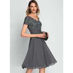 A-Line V-neck Knee-Length Chiffon Cocktail Dress With Sequins (016212858)