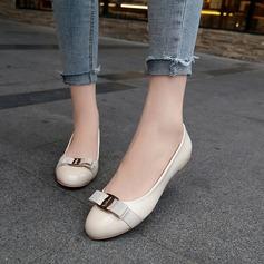 De mujer PU Tacón plano Planos Cerrados con Bowknot zapatos