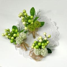 Lindo Seda artificiales Conjuntos de flores ( conjunto de2) - Ramillete de muñeca/Boutonniere
