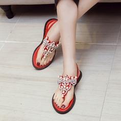 Vrouwen Echt leer Flat Heel Sandalen Beach Wedding Shoes met Gesp Imitatie Parel Strass