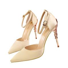 Vrouwen Satijn Stiletto Heel Pumps Closed Toe met Juwelen Hak schoenen