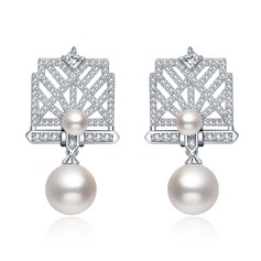 Romantic Copper/Zircon/Imitation Pearls/S925 Sliver Ladies' Earrings (011112944)
