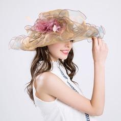 женские великолепный хлопок/чистая пряжа с шелковые цветы флоппи-Шляпа