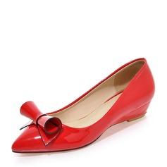 Femmes PU Talon compensé Bout fermé Compensée avec Bowknot chaussures