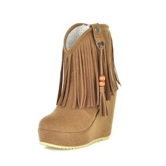 Suede Wedge Heel Wedges Ankle Boots With Tassel (088015424)