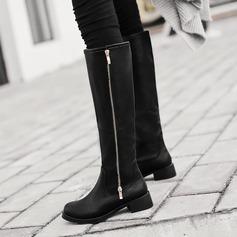 Frauen PU Flascher Absatz Flache Schuhe Plateauschuh Kniehocher Stiefel mit Reißverschluss Schuhe