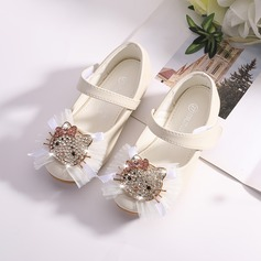 Girl's Mary Jane Microfiber Leather Flower Girl Shoes With Velcro