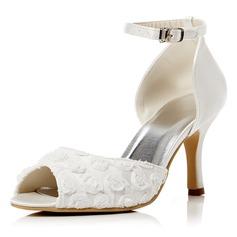 Kvinnor Spetsar Satäng Stilettklack Peep Toe Pumps Sandaler med Spänne