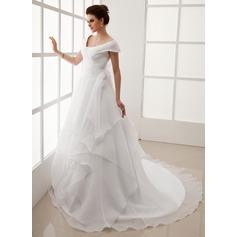 Forme Princesse Epaules nues Traîne mi-longue Organza Robe de mariée avec Plissé