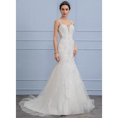 Trumpet/Mermaid Court Train Tulle Lace Wedding Dress With Beading (002107814)