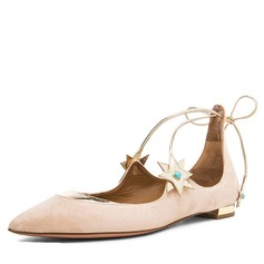 Women's Suede Flat Heel Flats Closed Toe With Lace-up Others shoes