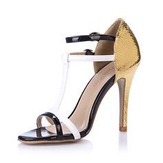 кожа Сандалии На каблуках Открытый мыс с пряжка обувь